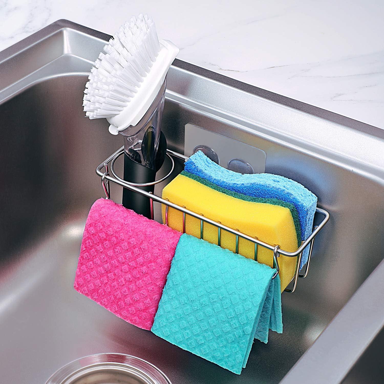 Smaller Size 3 In 1 Adhesive Kitchen Sink Caddy Sponge Holder Brush Holder Dish Cloth Hanger In Sink Dish Sponge Caddy 304 Stainless Steel Rust Proof Kitchen Organizer Rack Amazon Ca Home Kitchen