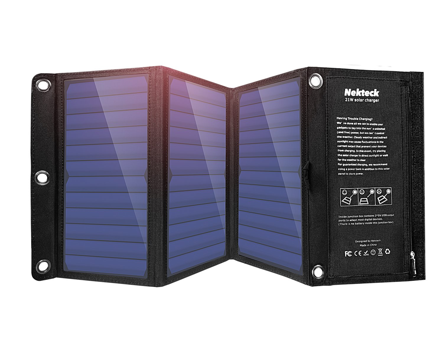 Nekteck 21W Solar Charger with 2-Port USB Charger Build with High Efficiency Solar Panel Cell for iPhone 6s / 6 / Plus, SE, iPad, Galaxy S6/S7/ Edge/Plus, Nexus 5X/6P, Any USB Devices, and More