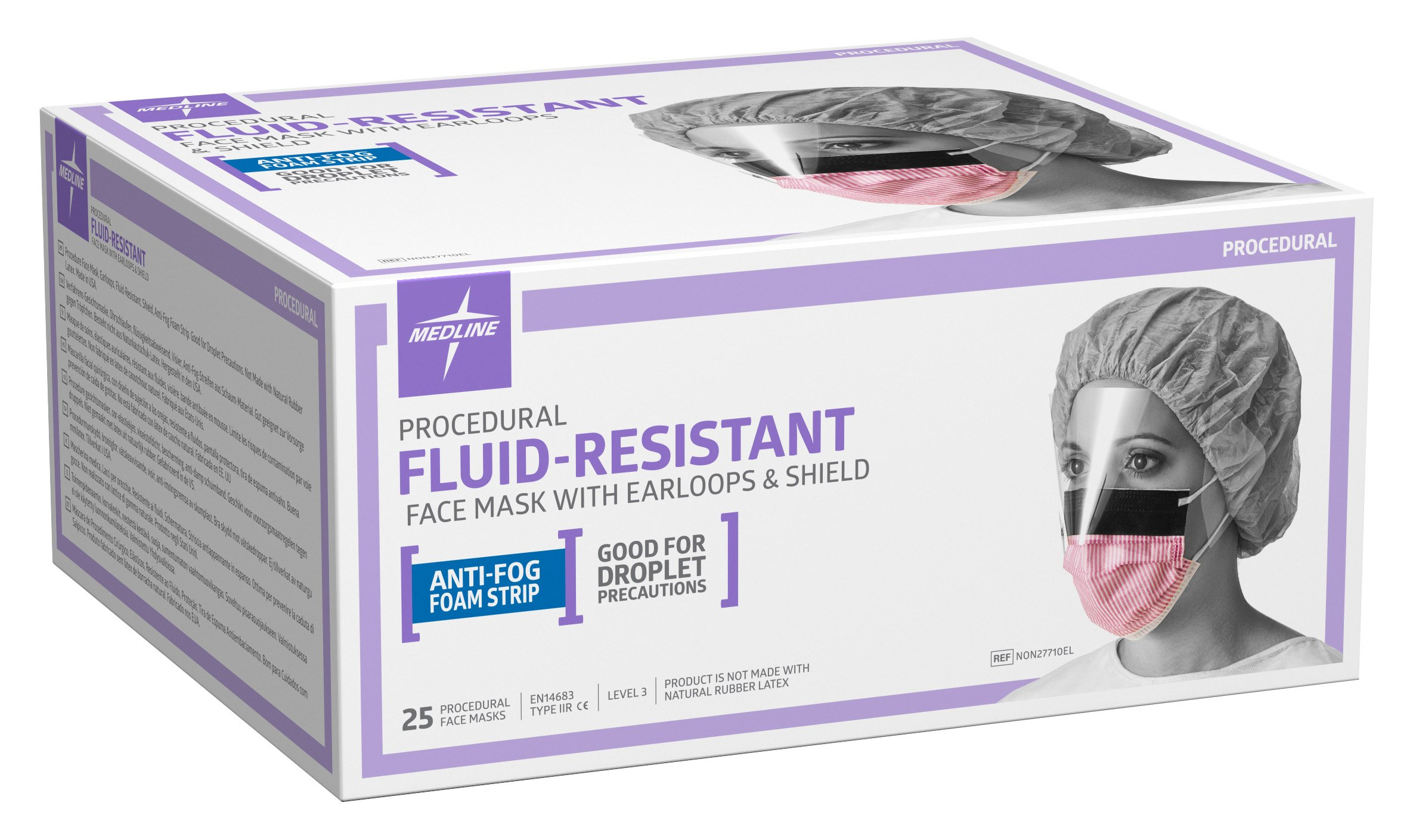 Medline NON27710EL Fluid-Resistant Surgical Face Masks with Eyeshield and Earloop, Cellulose, Anti Fog, Latex Free, Purple and White (Pack of 100) by Medline (Image #2)