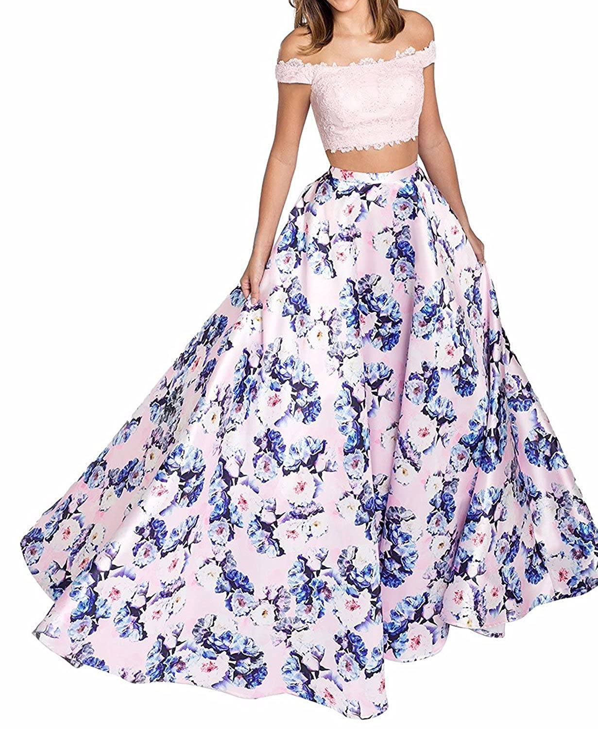 Pink Yiweir Women's Floral Two Piece Off Shoulder Prom Dresses 2018 Long Formal Evening Gowns YF018