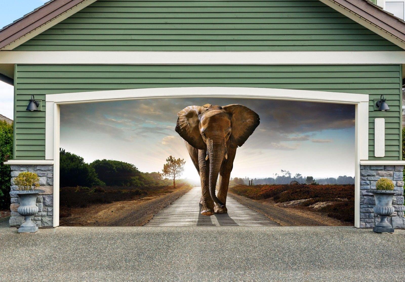 Double Garage Door Elephant Mural Full Color 3D Print Door Cover Billboard Decor for Home Murals size 82x188 Dav140