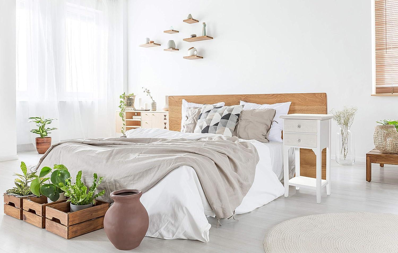 Mesilla de estilo shabby chic blanca con dos cajones y un estantePreciosa mesilla de madera DM decorada con tiradores con diseño de rosa de ...