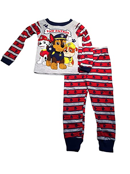 825c1d3653 Paw Patrol Little Boys  Gray and Red Stripped Pajama Pants and Long Sleeved  Shirt Set