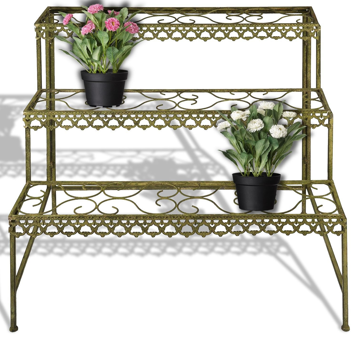 Fallen Fruits Metal Plant Stand Etagere 3 Tier in Green - AM76