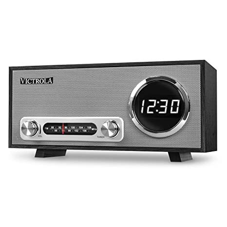 Victrola Broadway Bluetooth Radio Reloj Despertador Con Pantalla Digital, Negro