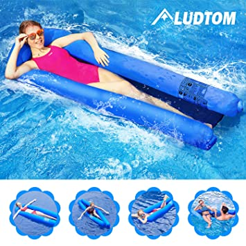 ludtom Inflatable Pool Floats Water Hammock for Adults 440lb Capacity Pool  Float Swimming Pool Lounger No Pump Needed with Compact Carry Bag【2019 ...