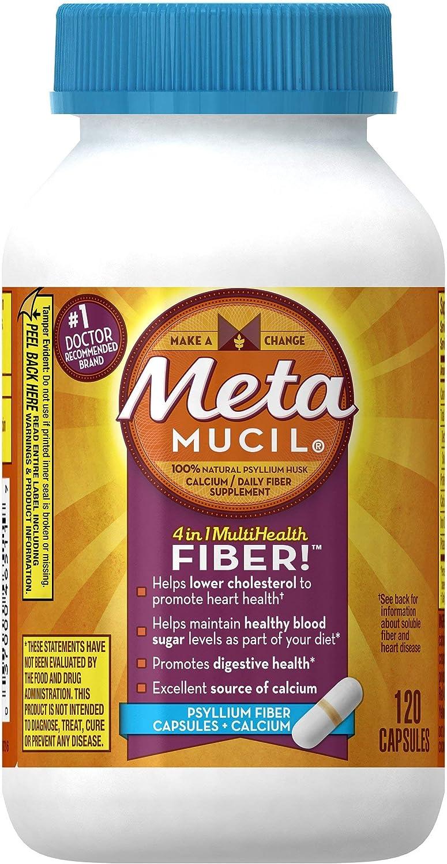 Metamucil Fiber with Calcium, 3-in-1 Psyllium Capsule Fiber Supplement with Calcium for Bone Health, 120 ct Capsules (Packaging May Vary)
