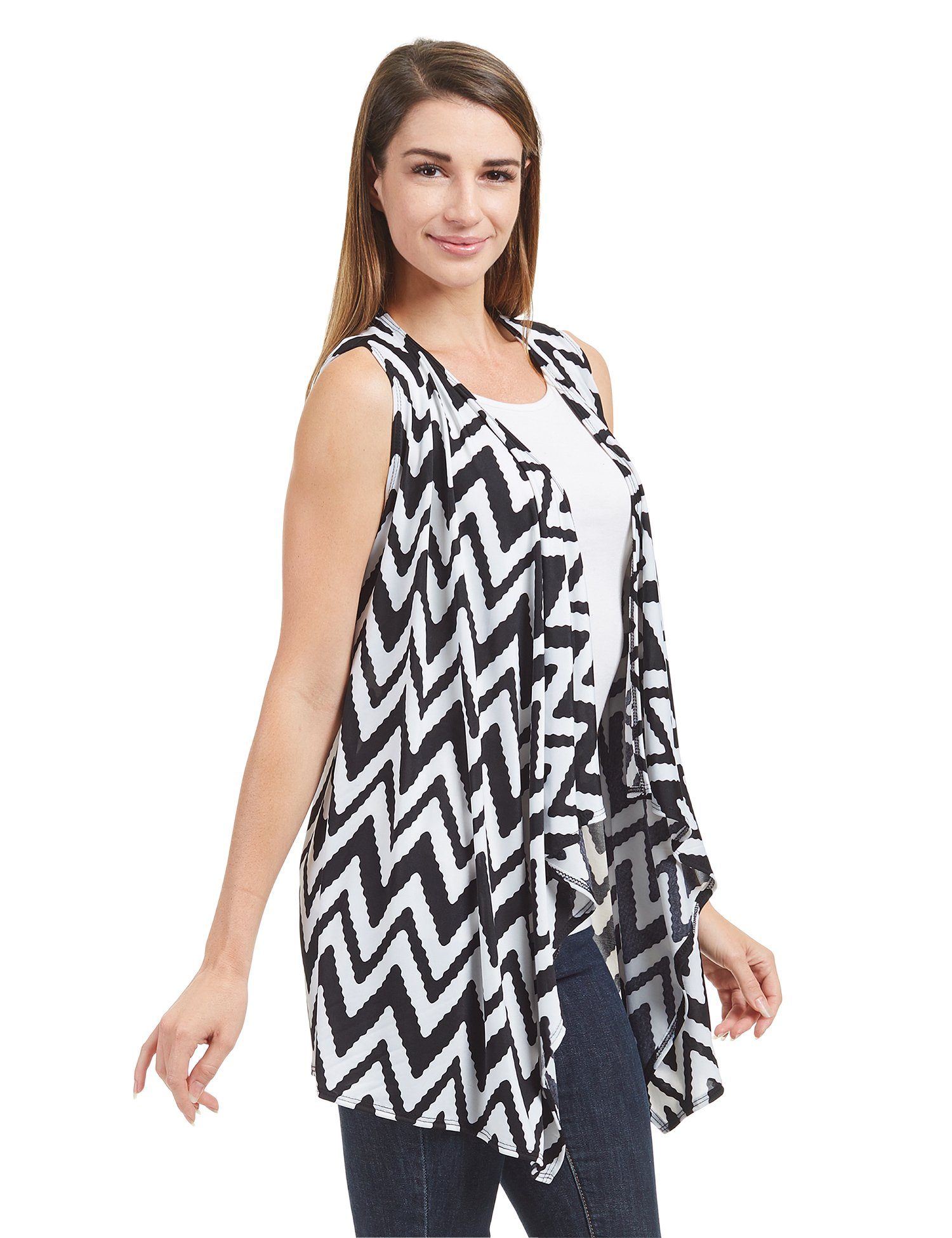 Lock and Love WSK1350 Womens Lightweight Print Draped Sleeveless Cardigan XXXL CHEV_Black by Lock and Love (Image #3)