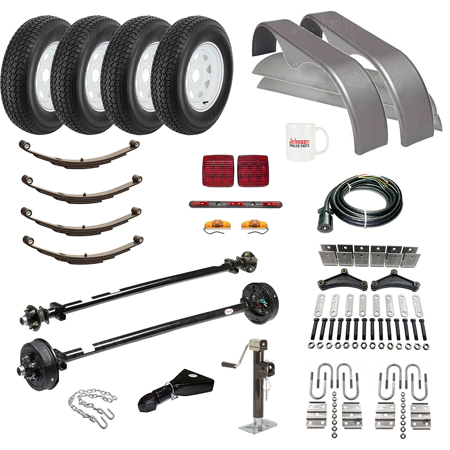 "Amazon.com: Tandem Axle Trailer Parts Kit - (95"" Hubface - 80"" Spring  Center) - 7,000 lb Capacity - Brakes on 1 Axle - Made in USA: Automotive"