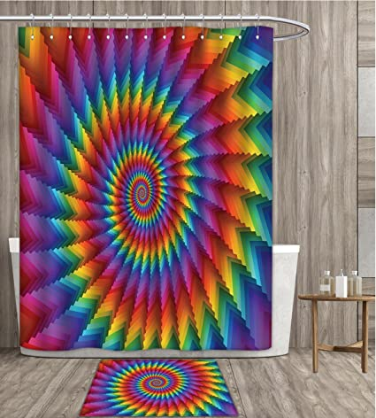 Amazon.com: Trippy Shower Curtain Mildew Resistant Psychedelic ...