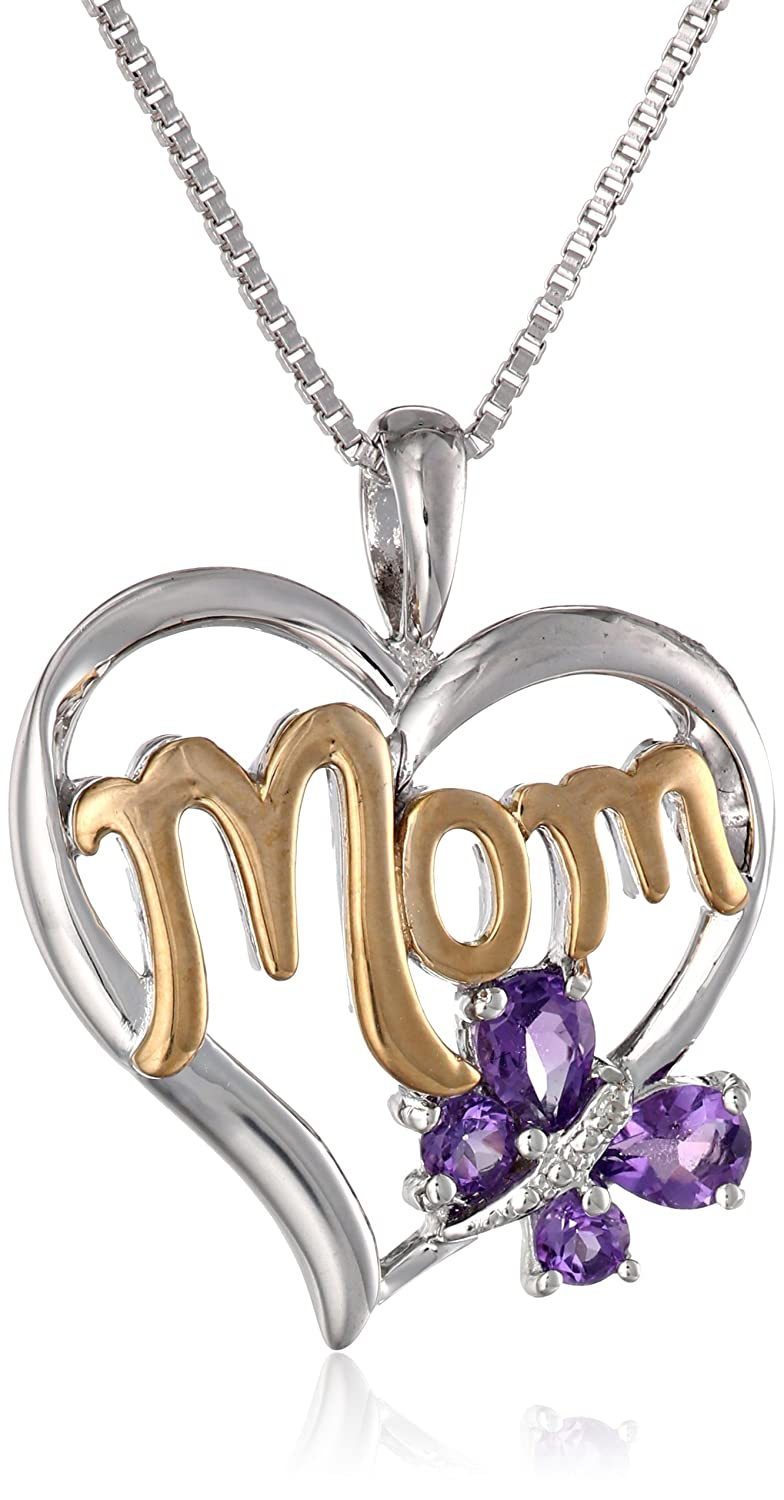 Sterling Silver and 14k Gold Gemstone with Diamond-Accent Butterfly Mom Heart Pendant Necklace, 18