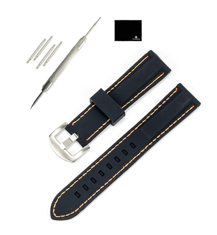 TON CHARME 防水 シリコン 腕時計ベルト 18/20/24mm ブラックにレッド/オレンジ/ブルー/ホワイト/パープル/イエローのスティッチ 18mm Orange Stitching M Orange Stitching Orange Stitching M B01KC23X7M
