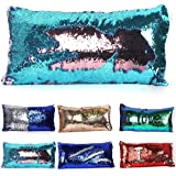 2 Colors Reversible Mermaid Sequins Pillow Sofa Couch Cushion Cover Throw Pillow Case 30cm x 60cm ( Acid Blue+ Baby Pink)