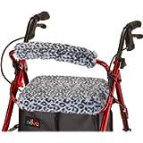 "NOVA Medical Products NOVA Rollator Walker Seat & Backrest Cover Set, Removable and Washable, Faux Fur ""Snow Leopard…"