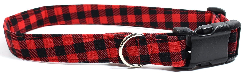 L Bonfire Plaid, Red Gingham Designer Dog Collar, Adjustable Handmade Fabric Collars (L)