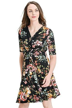 18aebc5f63b Hello MIZ Women s Floral Faux Wrap Side Tie Belt Nursing and Maternity Dress  (Black Multi