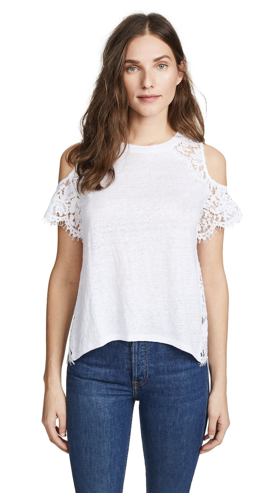 Generation Love Women's London Lace Cold Shoulder Tee, White, X-Small