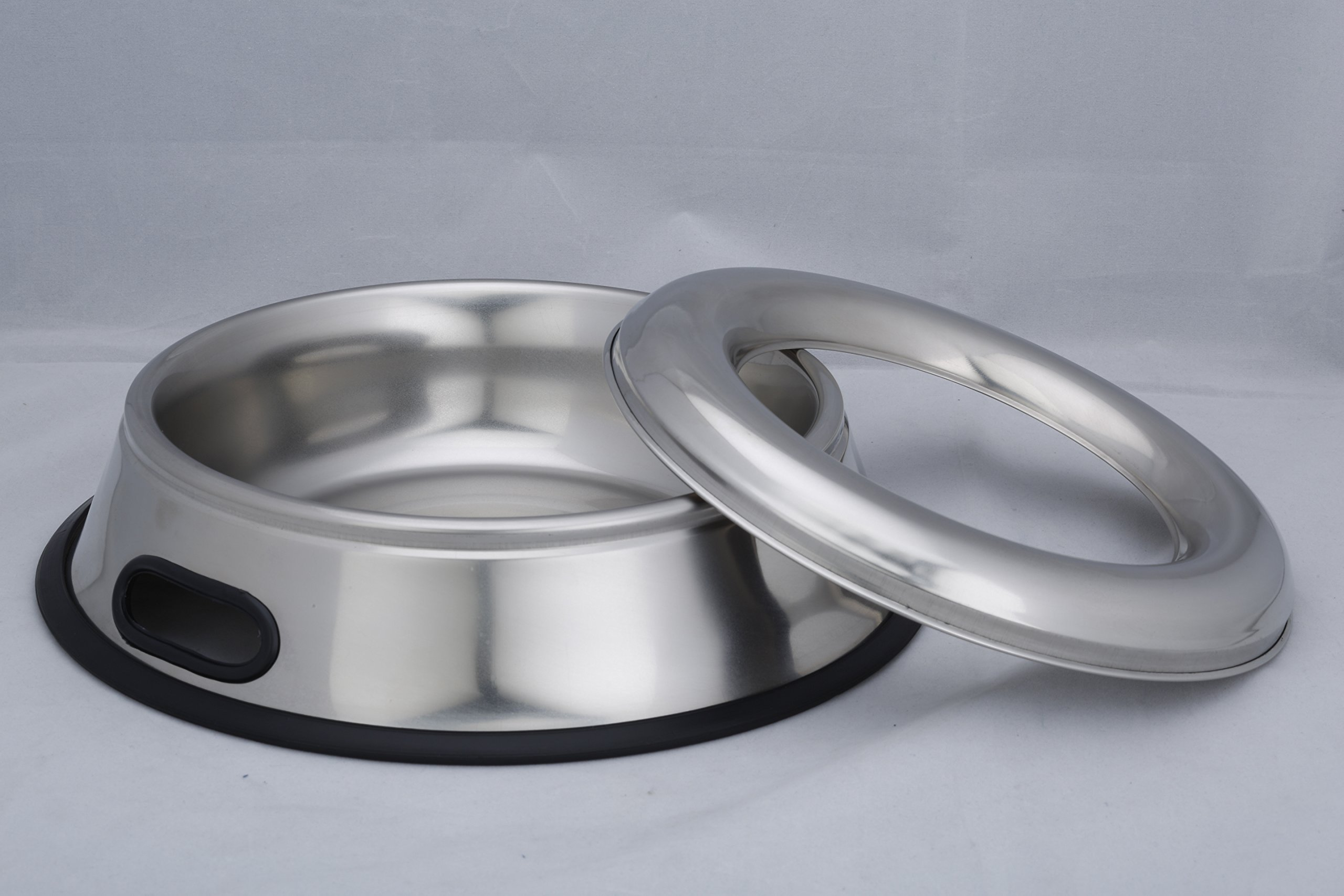 Indipets Stainless Steel Spill Proof - Splash Free No Tip Anti Skid Dish with...