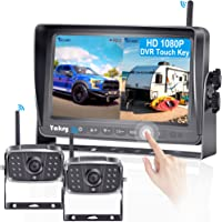 FHD 1080P Digital Wireless 2 Backup Camera for RVs/Trailers/Trucks/Motorhomes/5th Wheels 7''Monitor with DVR Highway…