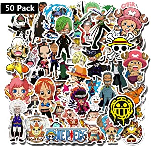 One Piece Cartoon Laptop Stickers - 50 Pcs Anime Vinyl Decals Water Bottle Phone Case Notebook Guitar Skateboard Travel Kid Adults Waterproof Unique