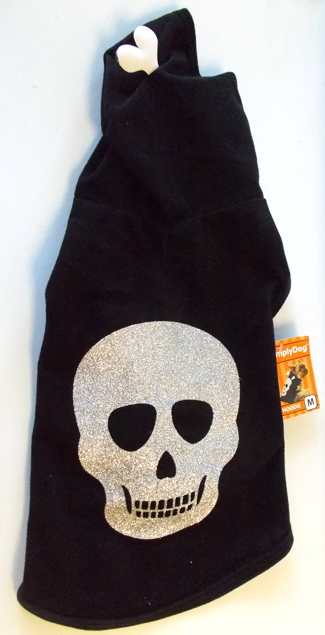 Skeleton Skull Black Silver Glitter Halloween Dog Hoodie XS 9-11' NWT