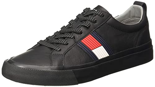 2c130a471a95a1 TOMMY HILFIGER Men s Flag Detail Leather Black Sneakers-10.5 UK India (45 EU