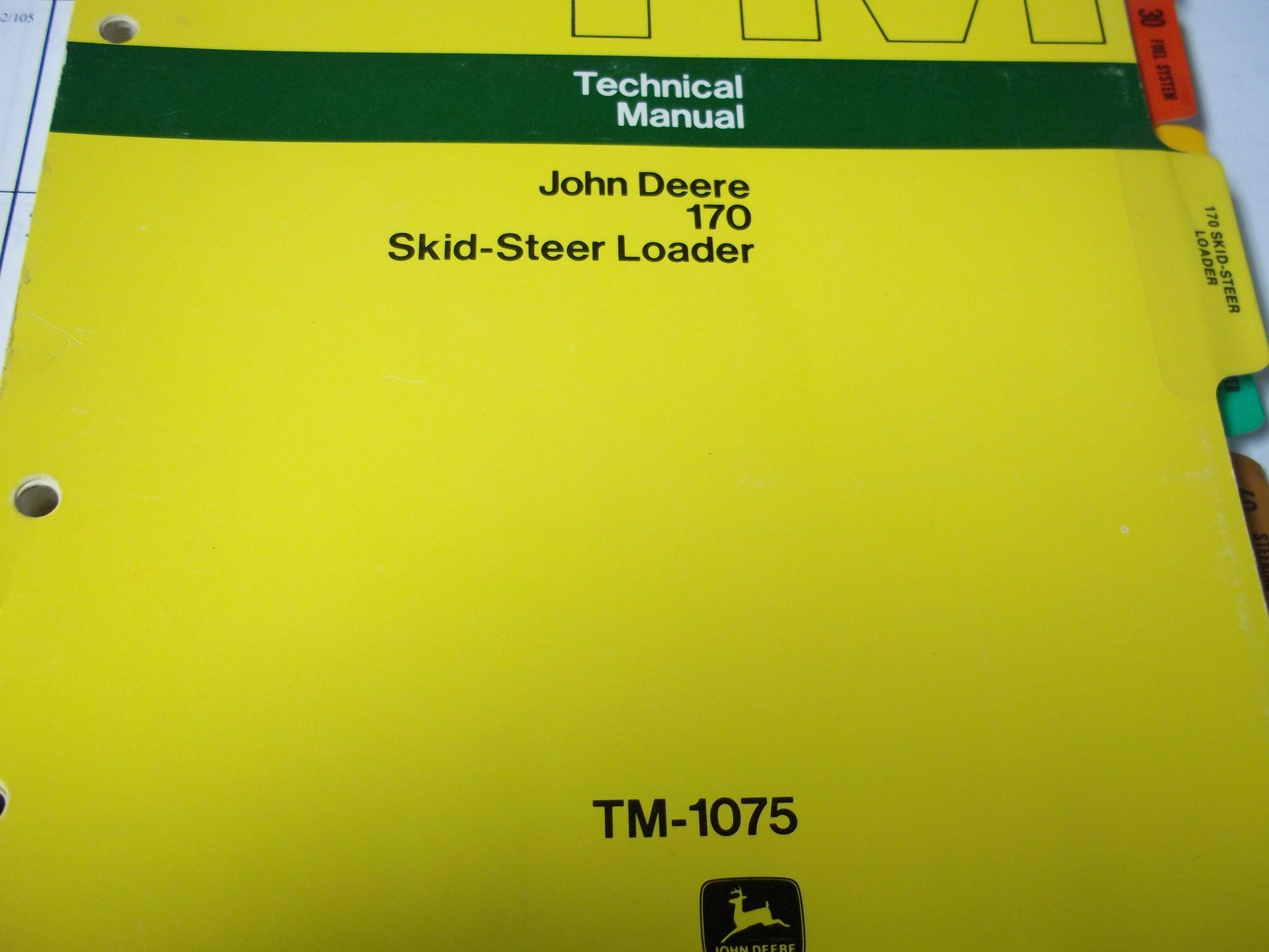 John Deere 170 Skid Steer Loader Technical Manual Tm 1075 John