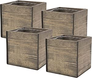 Wooden Planter Box, Rustic Barn Wood with Plastic Liner l Garden Decor l Restaurant and Wedding Decorations l Wedding Bouquets, Table Centerpiece (5x5 Set of 4, Natural)