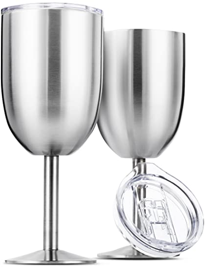 bd3aee06440 Stainless Steel Wine Glasses, Double Wall Insulated with Lids - Set of 2,  Metal Wine Glass for Outdoor Travel, Camping, Red White Wine Goblet, 14oz,  ...