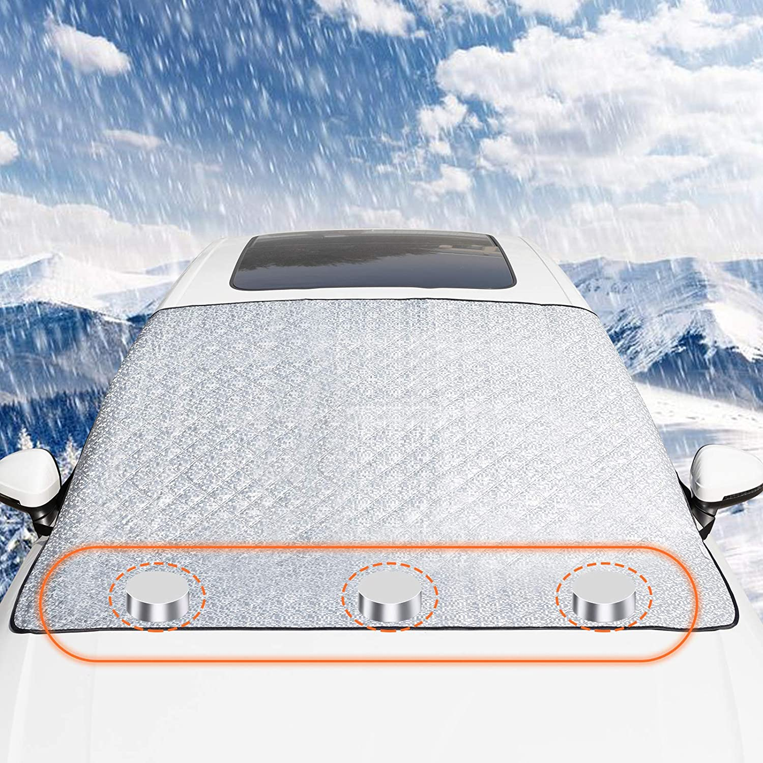 Large Windshield Ice and Snow Cover Fits Most Cars and SUV VOHQPEI Snow Windshield Cover for Car with 4 Layers Protection