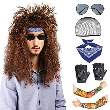 Beelittle 80s Men Heavy Metal Rock Wig Punk Disco Disfraz de Halloween Kit de Accesorios para Hombres (A)