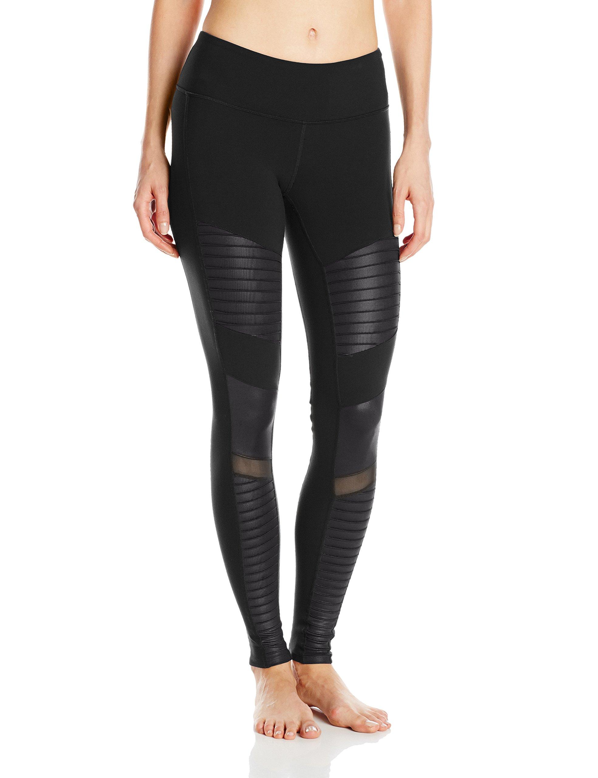 Alo Yoga Women's Moto Legging, Black/Black Glossy, M