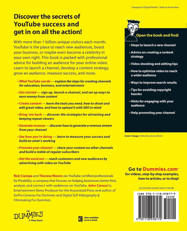 Youtube Channels for Dummies: Amazon.es: Rob Ciampa, Theresa Moore, John Carucci: Libros en idiomas extranjeros