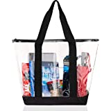Bags for Less Large Clear Vinyl Tote Bags Shoulder Handbag, Unisex-Adult (Luggage only), Black, One_Size