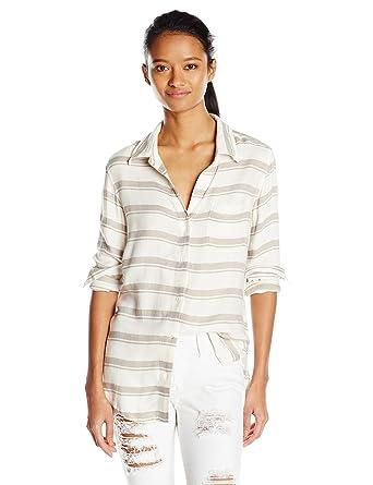 d702b128d RVCA Junior's Keeper Long Sleeve Button Up Stripe Shirt at Amazon Women's  Clothing store: