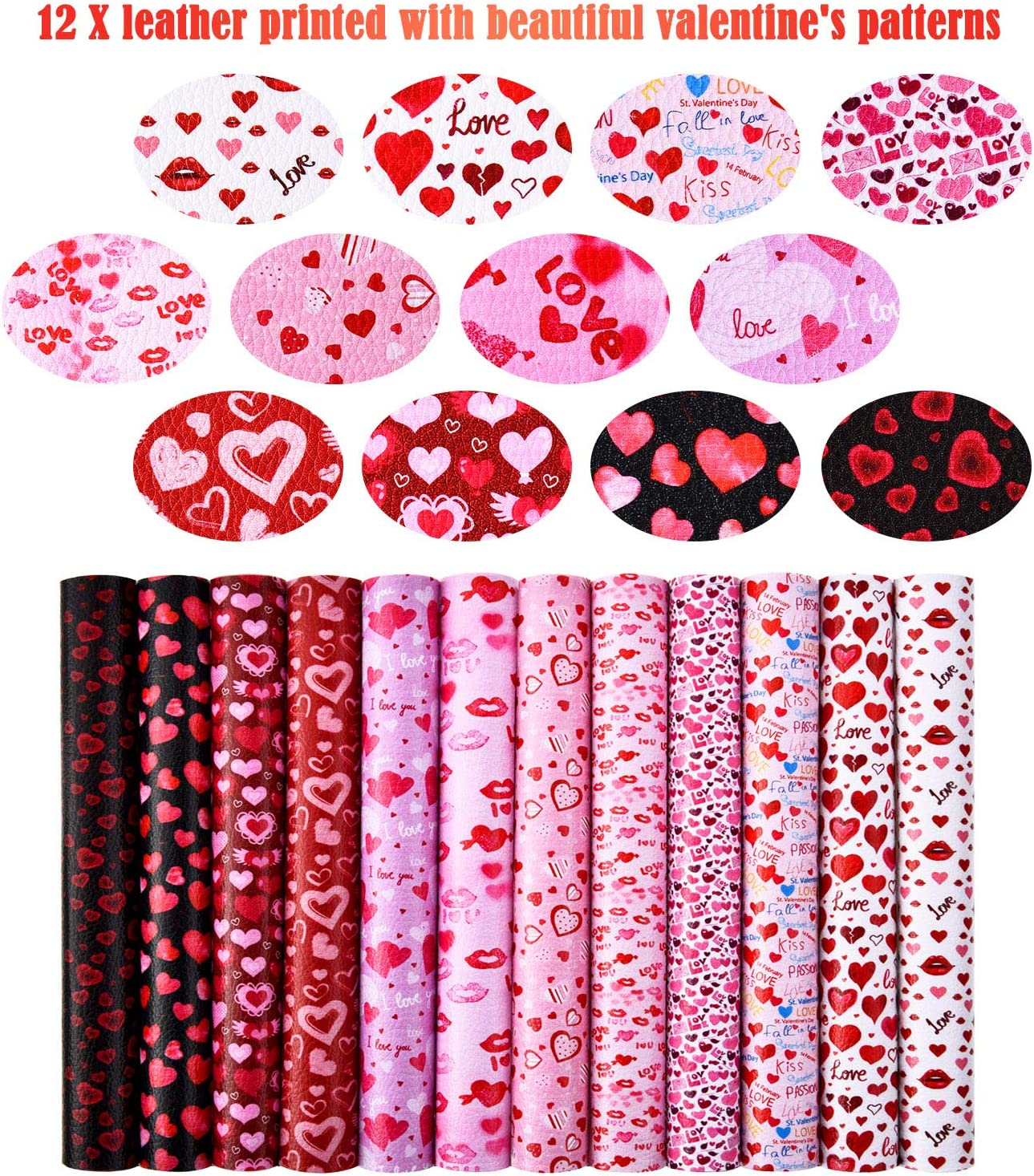 Synthetic Leather Printed Sewing Leatherette DIY Fabric For Bag /& Bow Making Faux Leather Sheets Love Valentine Red Lipstick Kiss