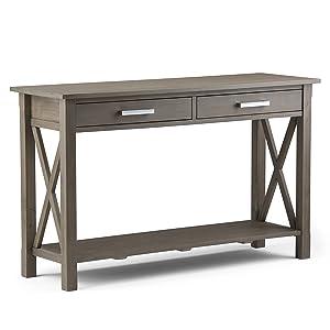 Simpli Home Kitchener Solid Wood Console Sofa Table, Farmhouse Grey