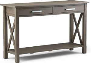 Simplihome Kitchener Solid Wood 47 Inch Wide Contemporary Console Sofa Table In Farmhouse Grey Furniture Decor