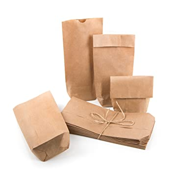 Pequeñas Bolsas marrones Papel Kraft papel 10,7 x 22 x 4,2 ...