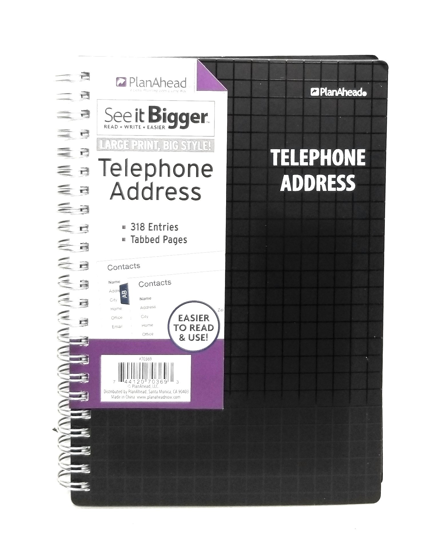 PlanAhead SEE IT BIGGER Telephone/Address Book, Size 6'' X 8'', Assorted/Black or Blue