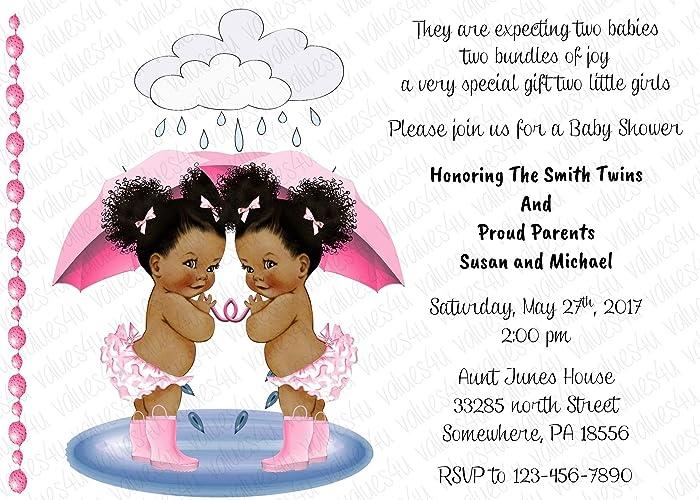 Amazon Personalized Baby Shower Invitation Twins Twin Girls