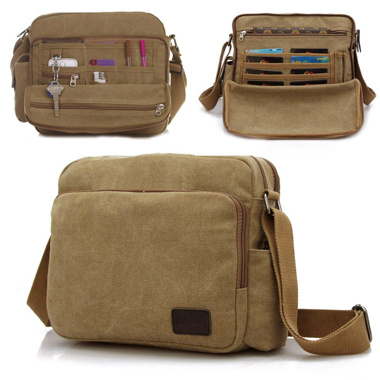 3efe18b97156 MeCooler Men s Canvas Weekender Messenger Bag for Travel Crossbody Sports  Over Shoulder Vintage Military Overnight Casual