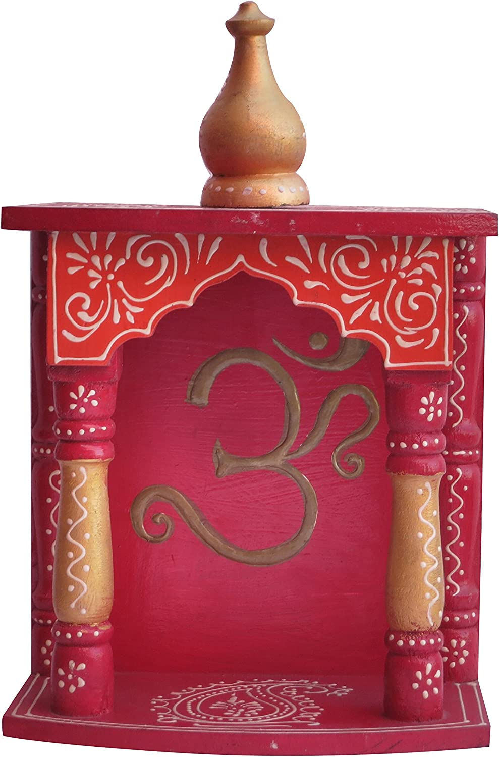 Home Temple/Wooden Temple/Pooja Mandir/Mandap/Wooden Temple/Mandir with om Symbol Rajasthani Emboss Work on it, A Auspicious, Religious Perfect for Home, Hand Made Handcrafted Temple