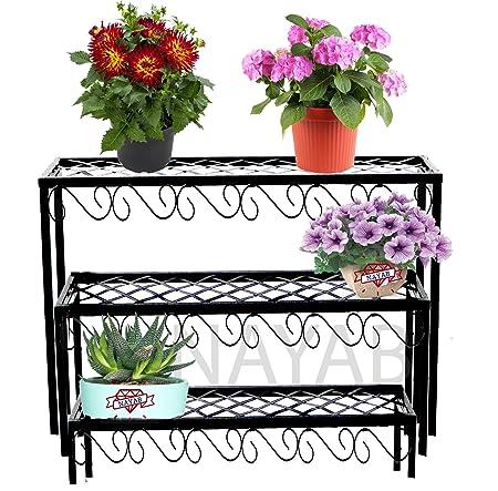 NAYAB Set of 3 Nesting Plant Stands with Decorative Scrollwork - Indoor/Outdoor Step Style Garden Flower Pot Holder Pot Rack Shelf
