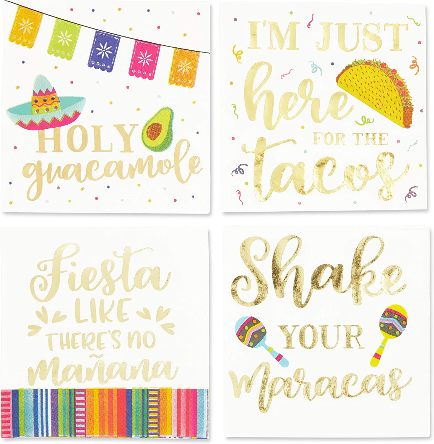 Cinco De Mayo Napkins with Gold Foil for Fiestas (5 x 5 In, 4 Designs, 100 Pack)