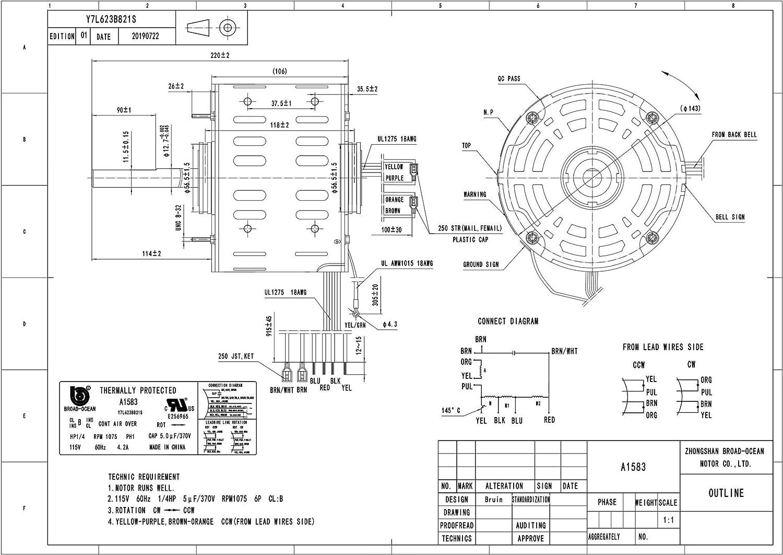 A1583 1 4hp Furnace Blower Motor 115v 1075rpm 4 2amp Amazon Com