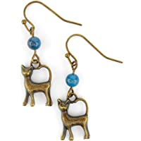 Cat Earrings with Teal blue Apatite Gemstones, includes gift box