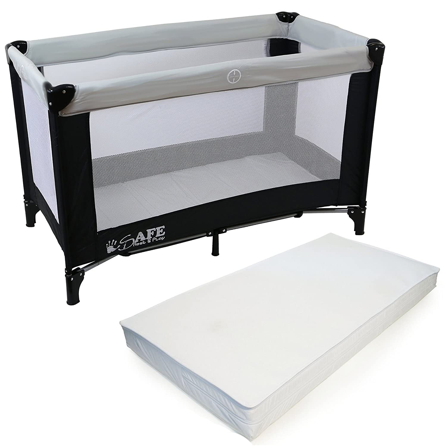 iSafe Rest & Play Luxury Travel Cot/Playpen - MoonStone (Black/Grey) 120 cm x 60 cm Complete With Mattress iSaf-RestPl
