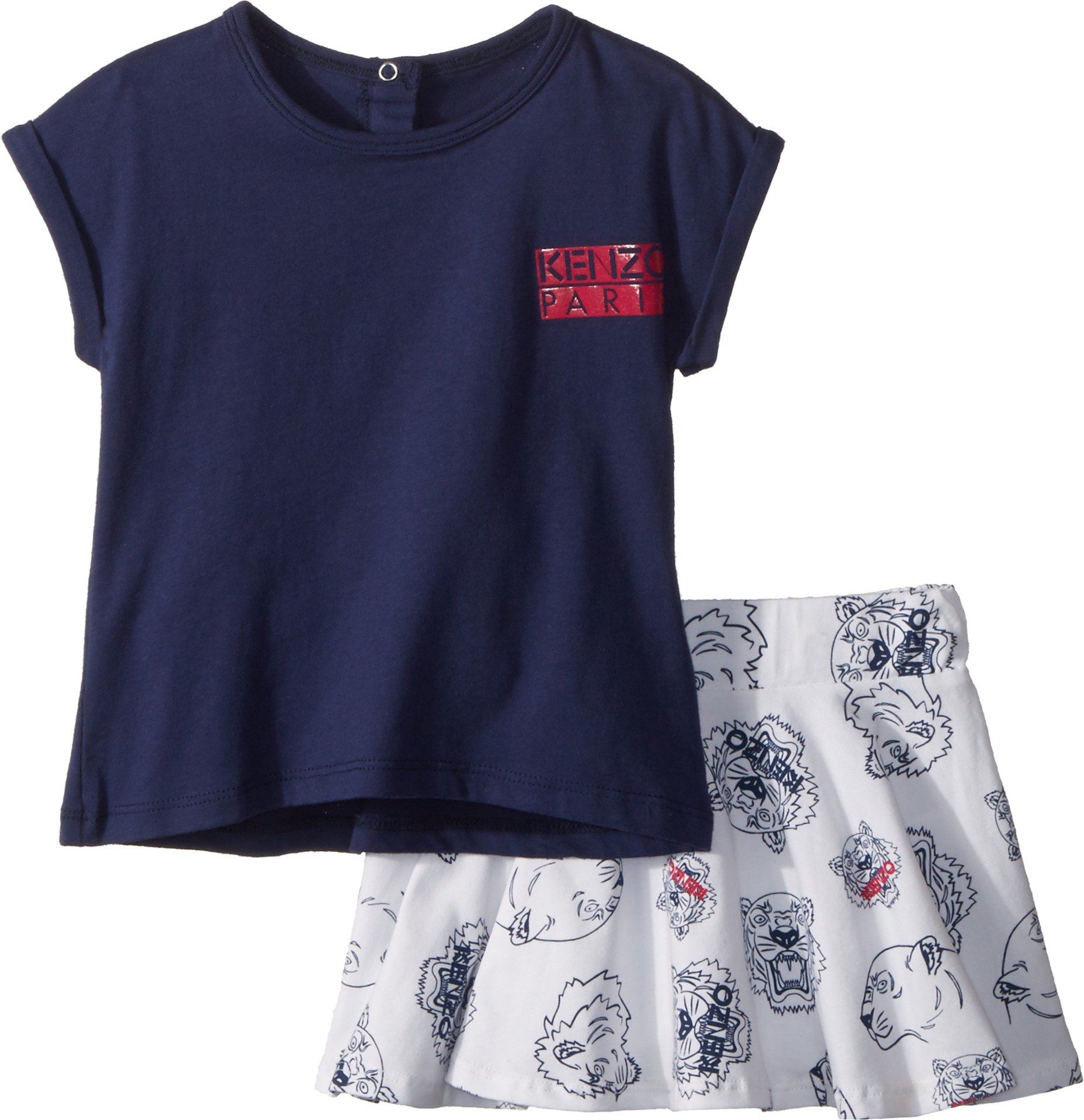 Kenzo Kids Baby Girl's Tee Shirt and Skirt Tigers (Toddler) Navy 3T