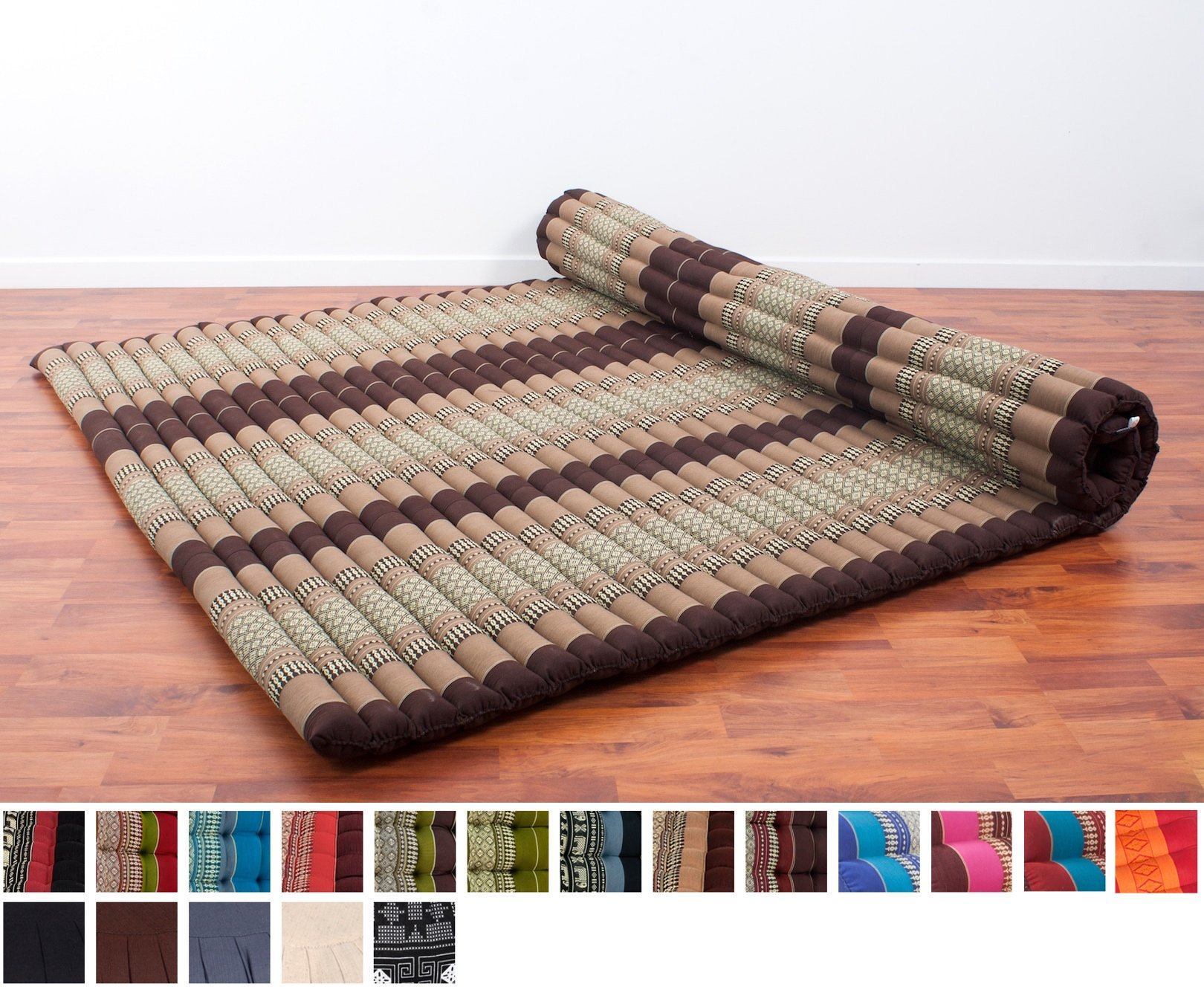 Leewadee Roll Up Thai Mattress XXL, 79x59x2 inches, Kapok Fabric, Brown, Premium Double Stitched